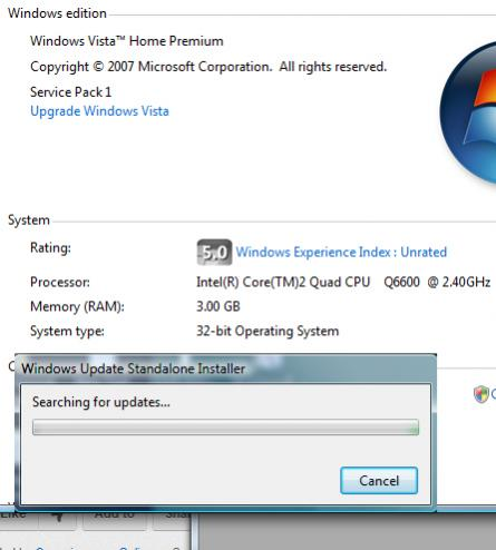 windows update standalone installer searching for updates on this computer